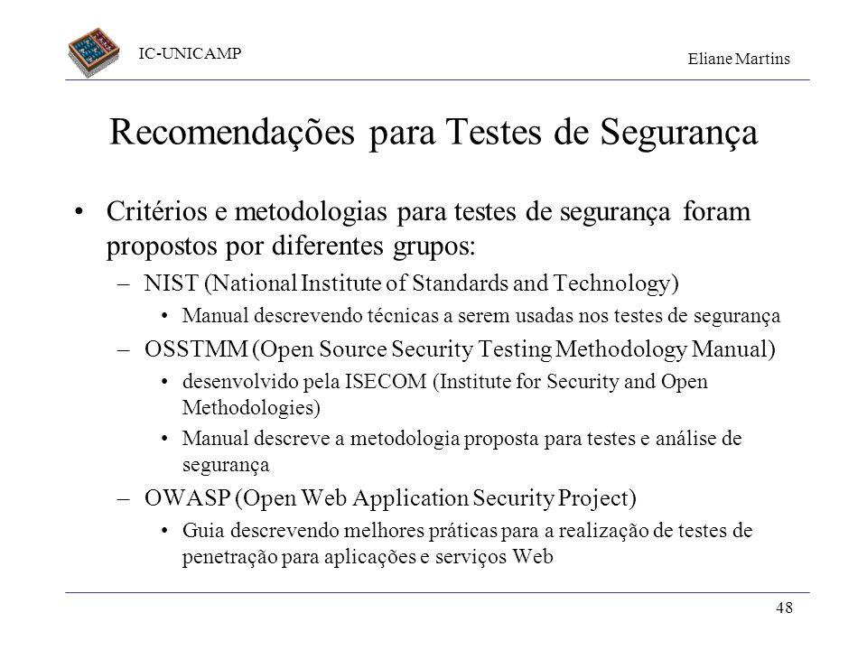 Recomendações para Testes de Segurança