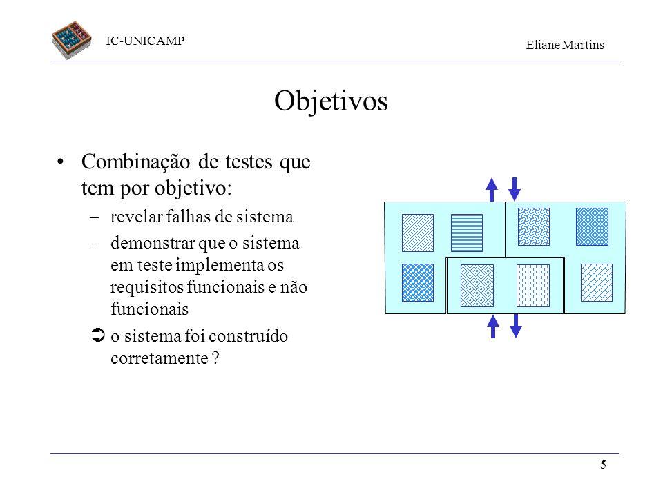 Objetivos Combinação de testes que tem por objetivo: