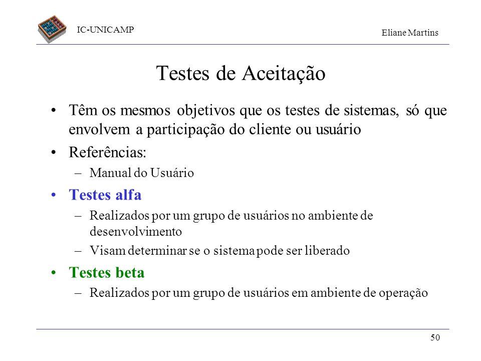 Testes de Aceitação Têm os mesmos objetivos que os testes de sistemas, só que envolvem a participação do cliente ou usuário.