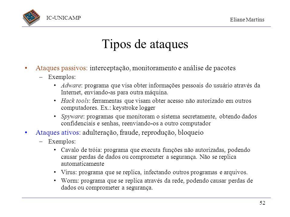 Tipos de ataques Ataques passivos: interceptação, monitoramento e análise de pacotes. Exemplos: