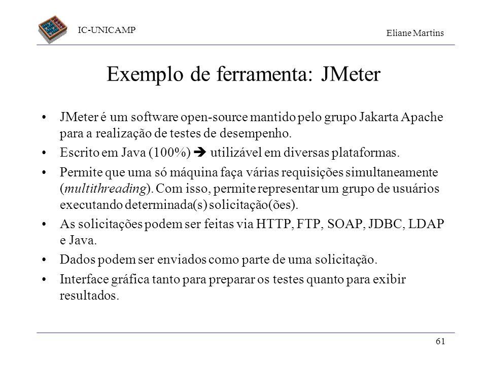 Exemplo de ferramenta: JMeter