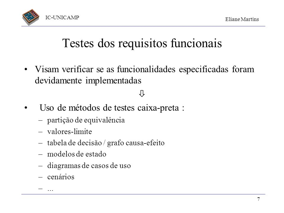 Testes dos requisitos funcionais