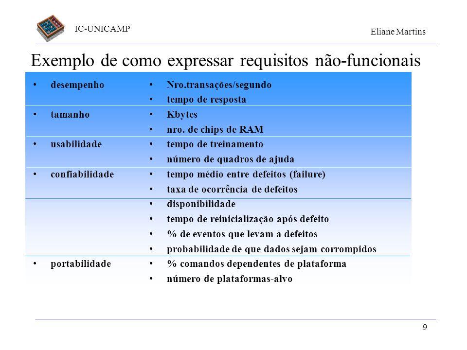 Exemplo de como expressar requisitos não-funcionais