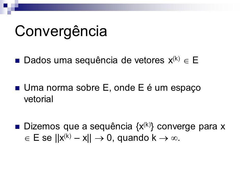 Convergência Dados uma sequência de vetores x(k)  E