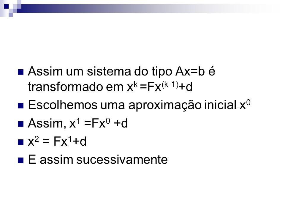 Assim um sistema do tipo Ax=b é transformado em xk =Fx(k-1)+d