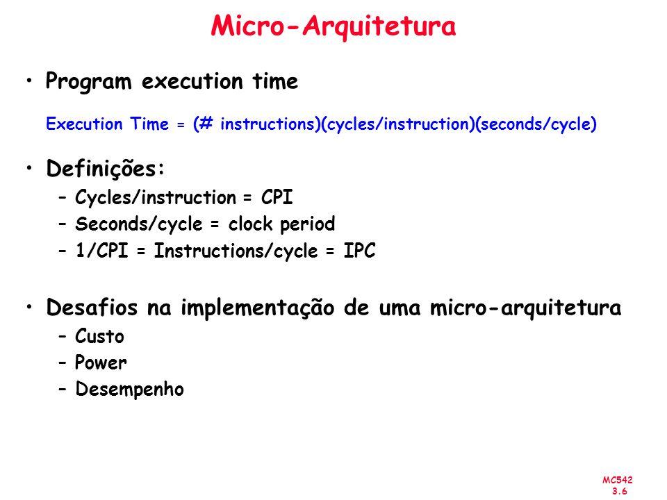 Micro-Arquitetura Program execution time Definições: