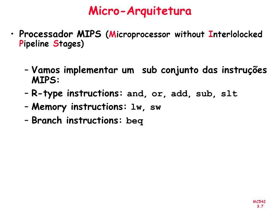 Micro-ArquiteturaProcessador MIPS (Microprocessor without Interlolocked Pipeline Stages) Vamos implementar um sub conjunto das instruções MIPS: