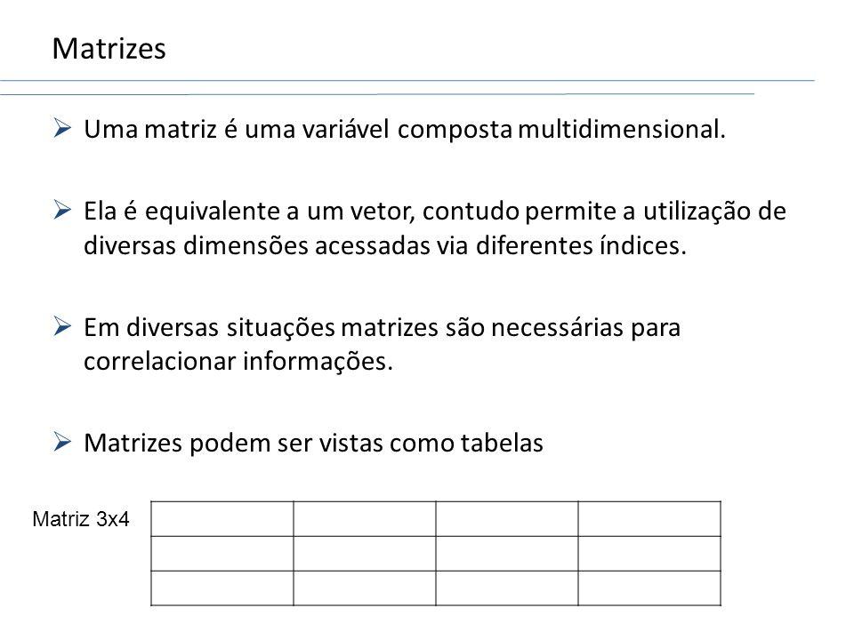 Matrizes Uma matriz é uma variável composta multidimensional.