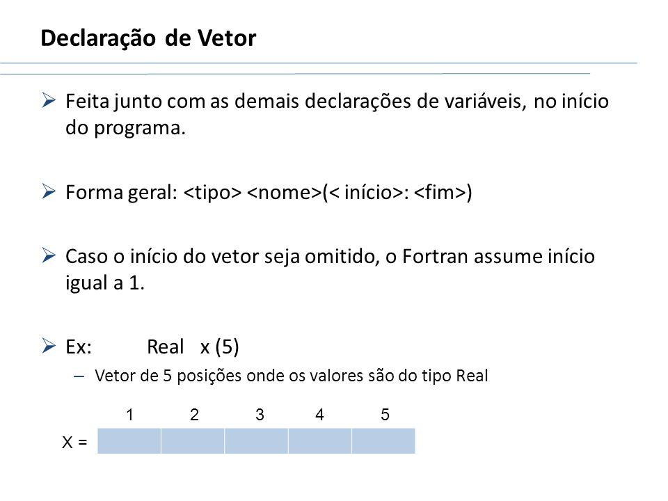 Declaração de VetorFeita junto com as demais declarações de variáveis, no início do programa. Forma geral: <tipo> <nome>(< início>: <fim>)