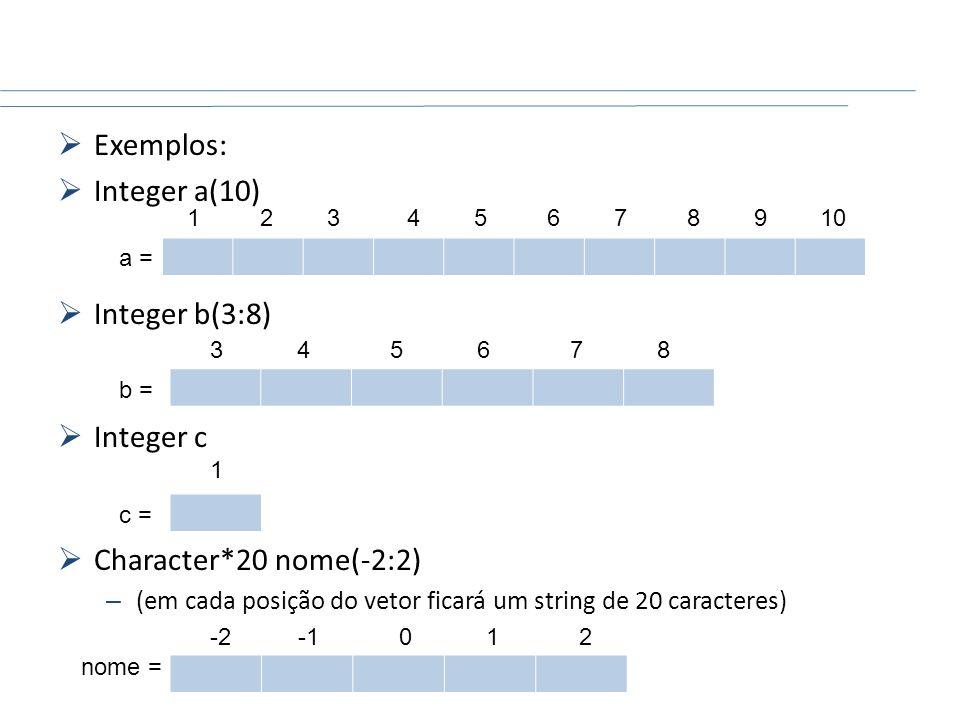 Exemplos: Integer a(10) Integer b(3:8) Integer c