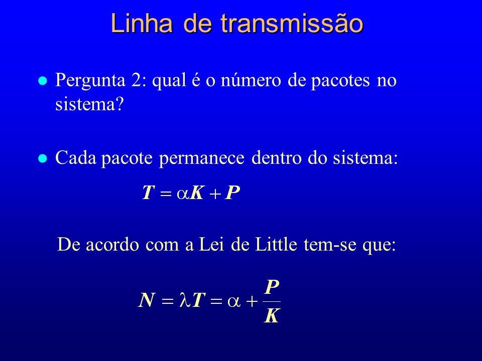 Linha de transmissão Pergunta 2: qual é o número de pacotes no sistema Cada pacote permanece dentro do sistema: