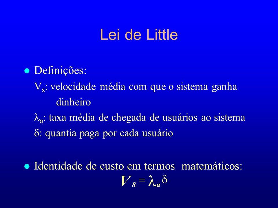 Lei de Little Definições: Identidade de custo em termos matemáticos: