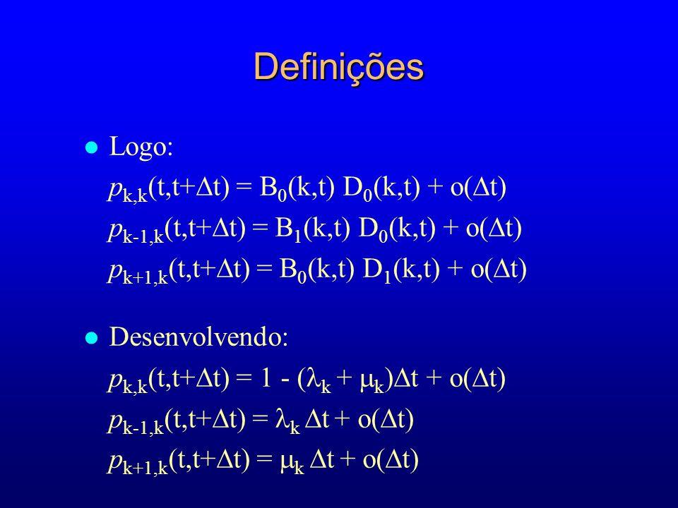 Definições Logo: pk,k(t,t+t) = B0(k,t) D0(k,t) + o(t)