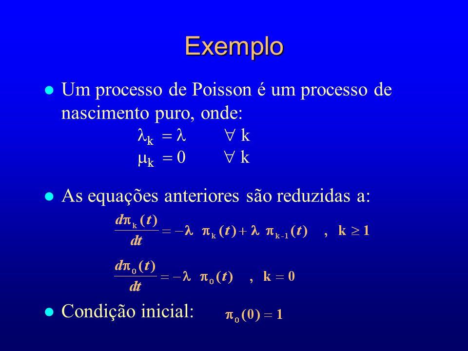 Exemplo Um processo de Poisson é um processo de nascimento puro, onde: