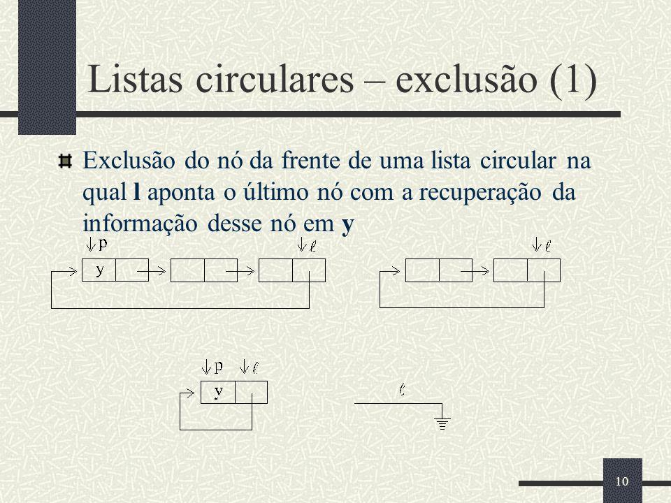 Listas circulares – exclusão (1)