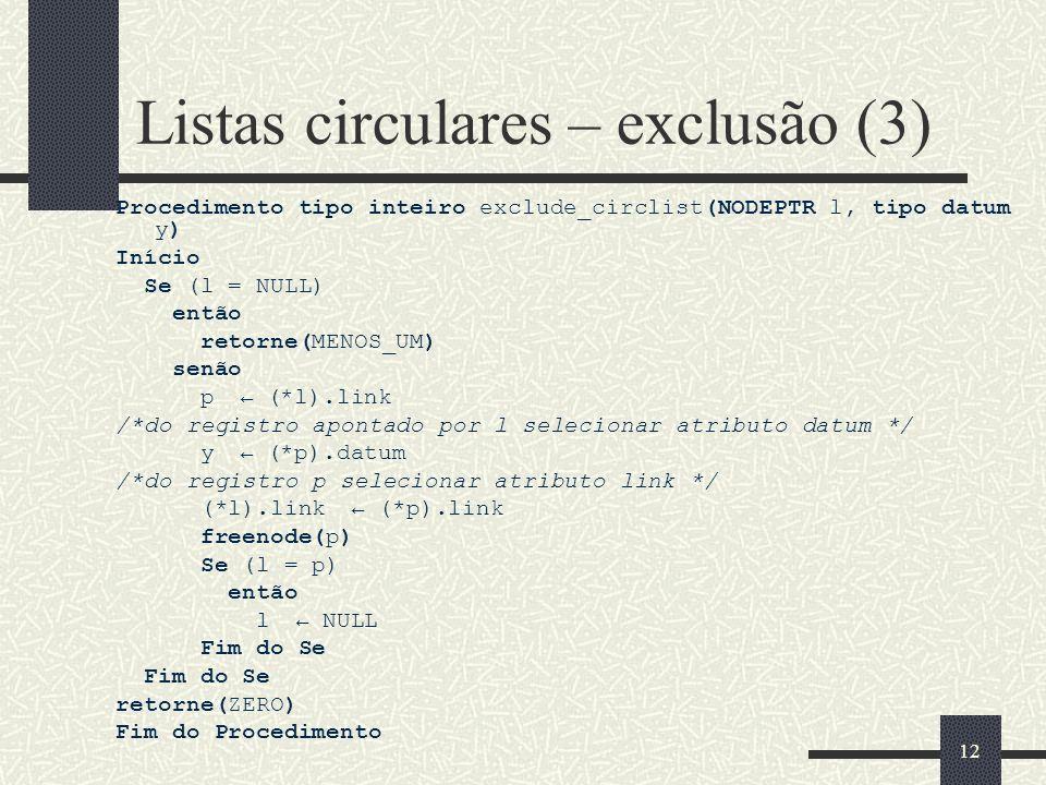 Listas circulares – exclusão (3)