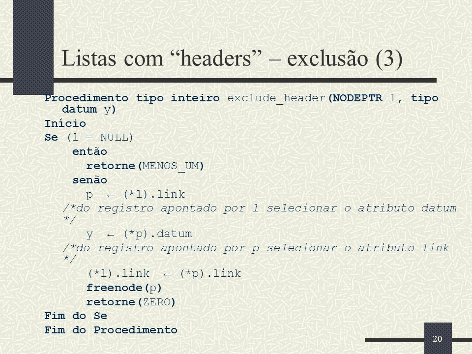 Listas com headers – exclusão (3)