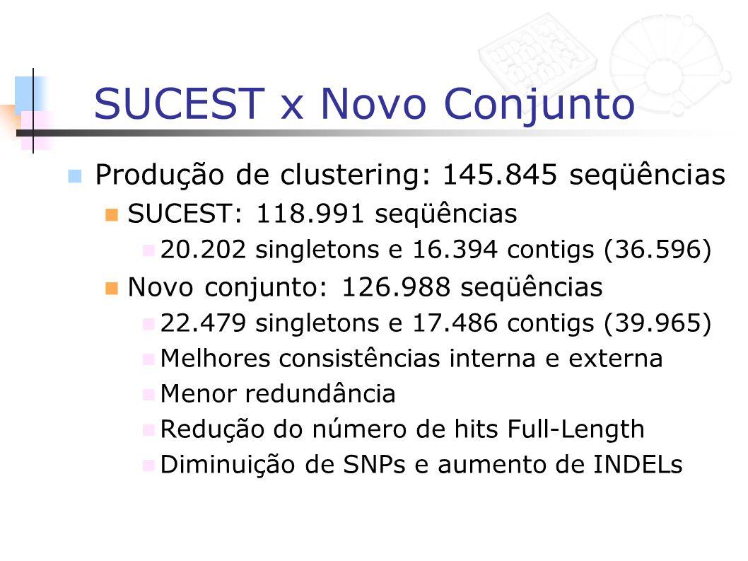 SUCEST x Novo Conjunto Produção de clustering: 145.845 seqüências