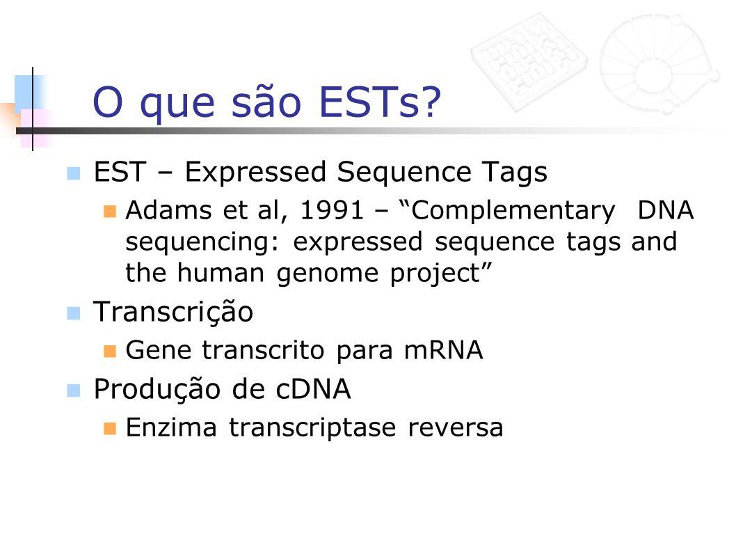 O que são ESTs EST – Expressed Sequence Tags Transcrição