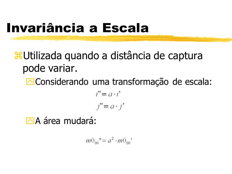 Invariância a Escala Utilizada quando a distância de captura pode variar. Considerando uma transformação de escala: