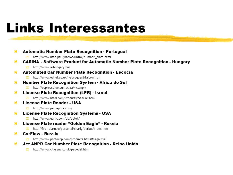 Links Interessantes Automatic Number Plate Recognition - Portugual