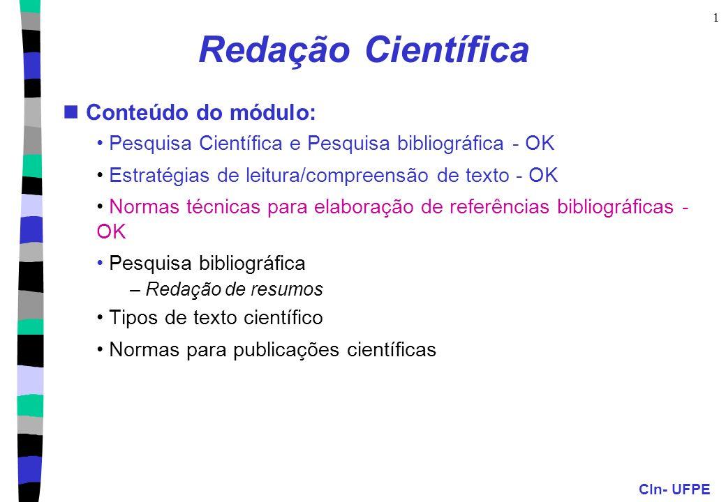 Redação Científica Conteúdo do módulo: