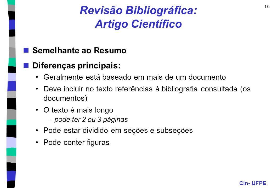 Revisão Bibliográfica: Artigo Científico