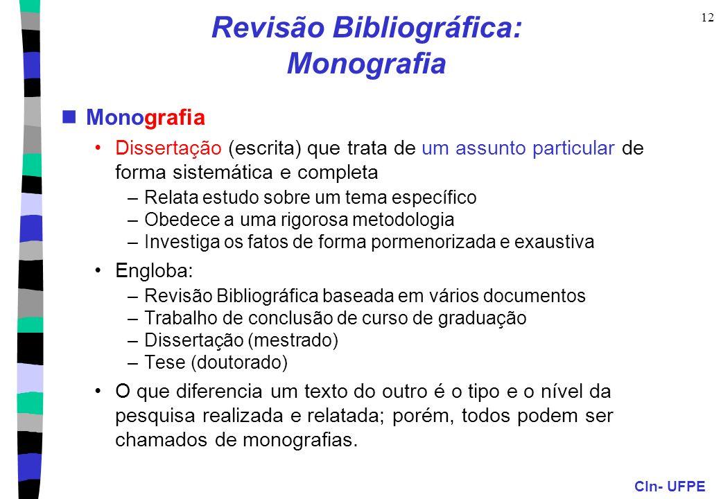 Revisão Bibliográfica: Monografia