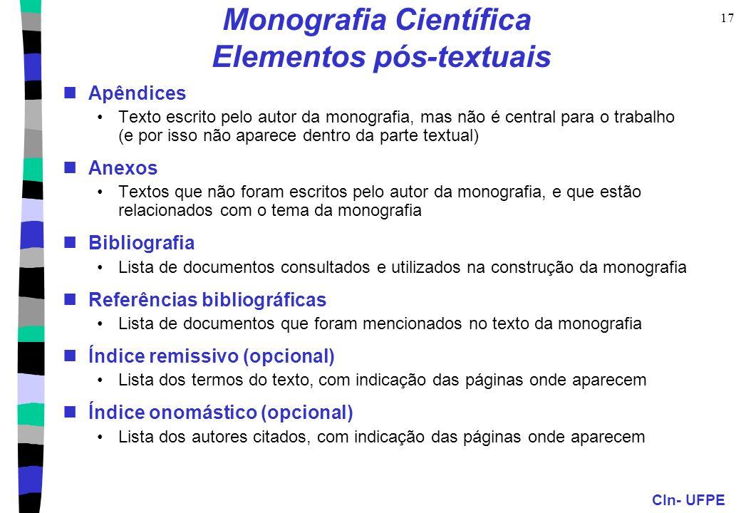 Monografia Científica Elementos pós-textuais
