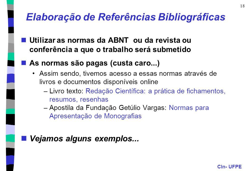 Elaboração de Referências Bibliográficas