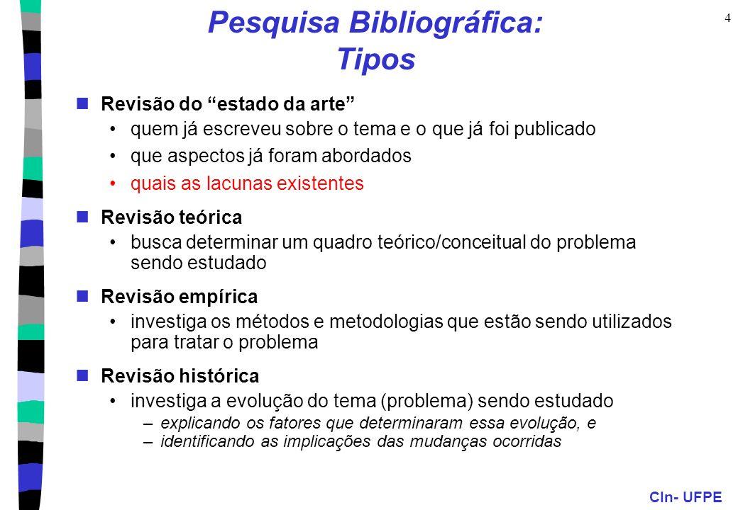 Pesquisa Bibliográfica: Tipos