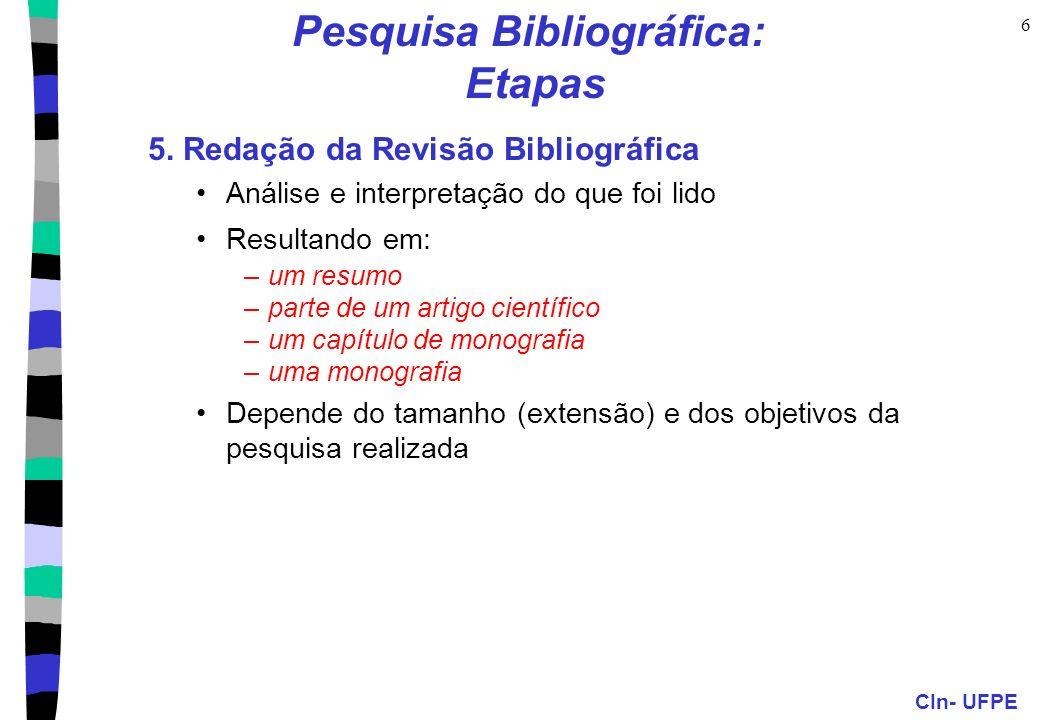 Pesquisa Bibliográfica: Etapas