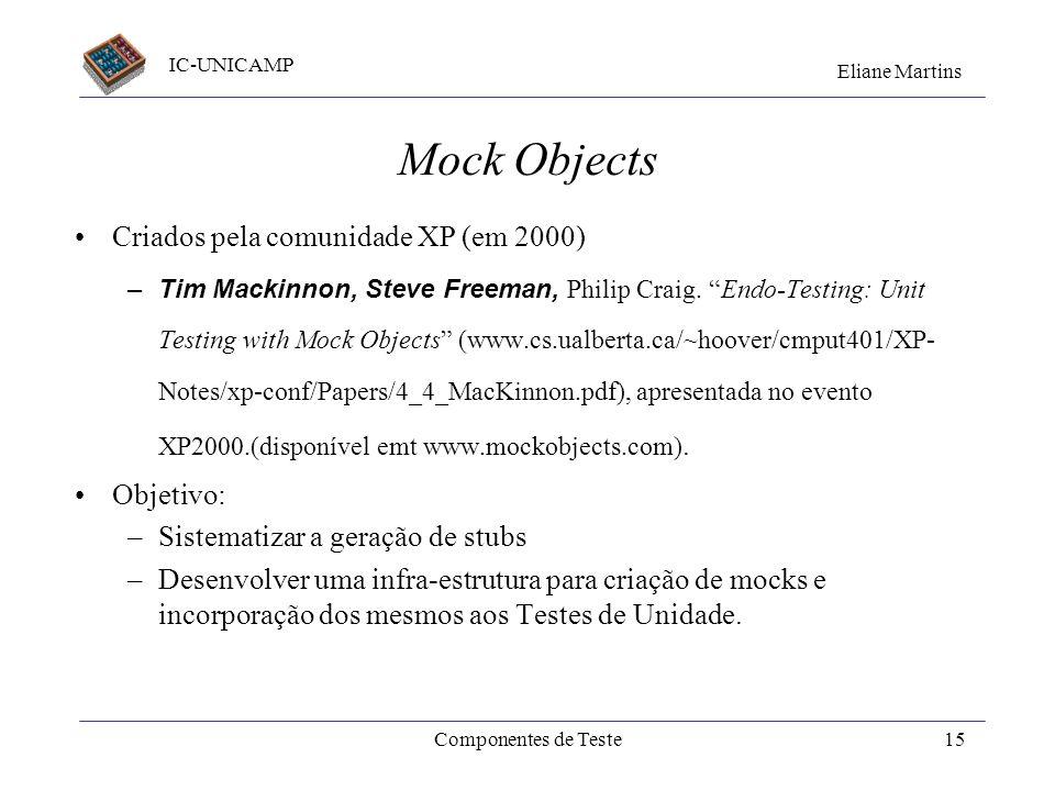 Mock Objects Criados pela comunidade XP (em 2000) Objetivo: