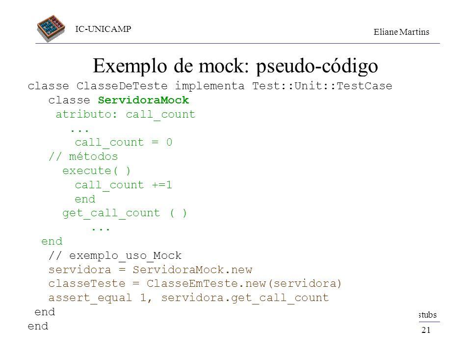 Exemplo de mock: pseudo-código