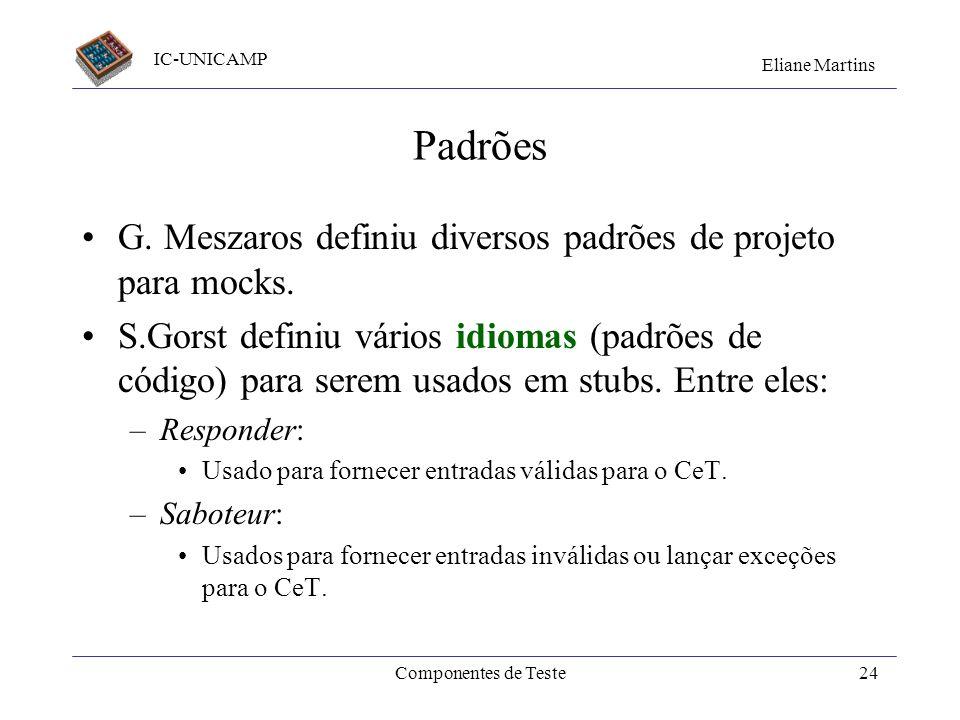 Padrões G. Meszaros definiu diversos padrões de projeto para mocks.