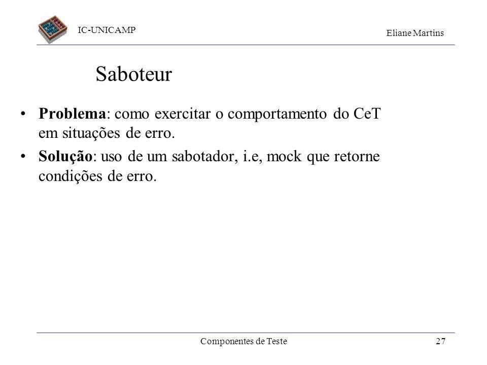 Saboteur Problema: como exercitar o comportamento do CeT em situações de erro.
