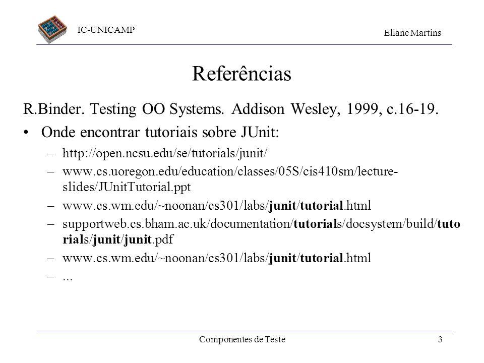 Referências R.Binder. Testing OO Systems. Addison Wesley, 1999, c.16-19. Onde encontrar tutoriais sobre JUnit: