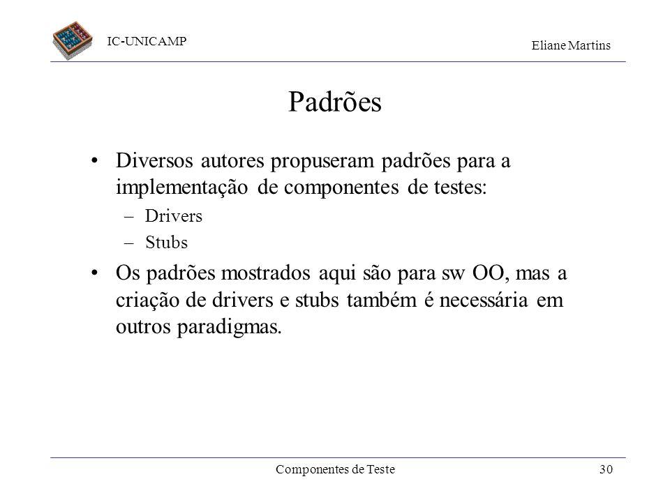 Padrões Diversos autores propuseram padrões para a implementação de componentes de testes: Drivers.