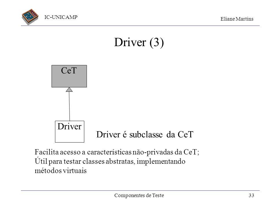 Driver (3) CeT Driver Driver é subclasse da CeT
