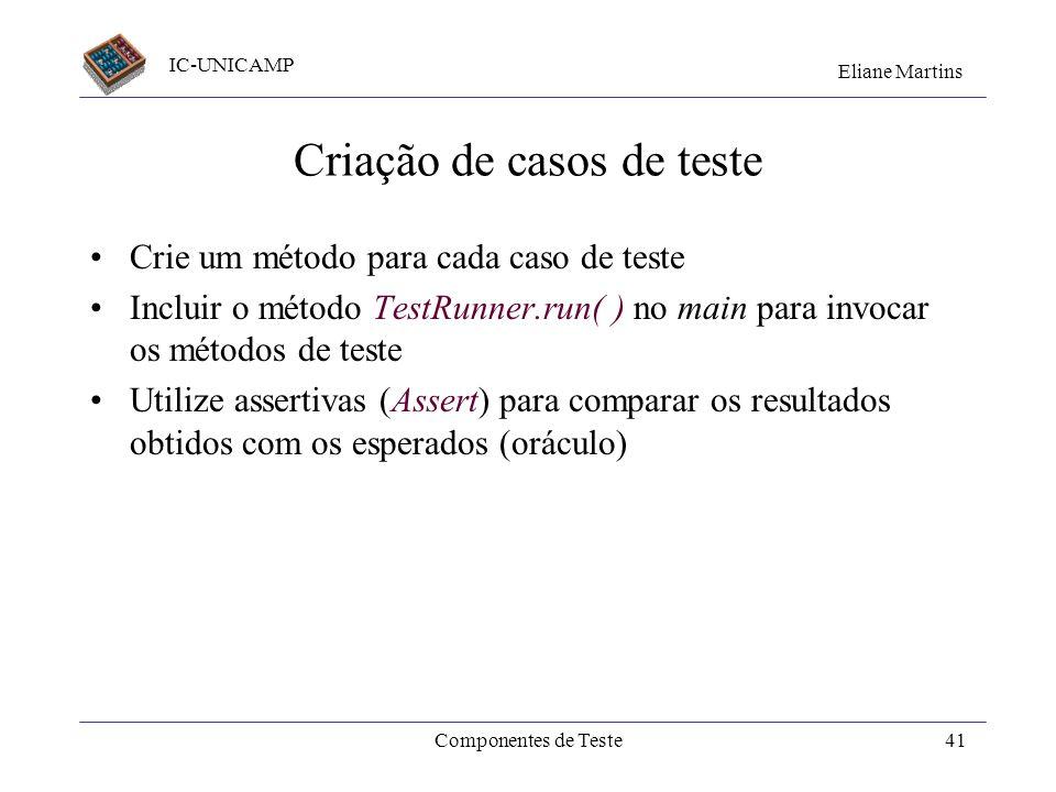 Criação de casos de teste