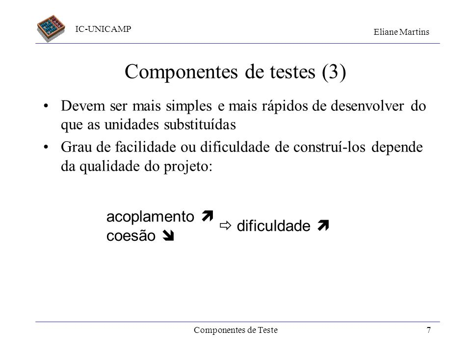 Componentes de testes (3)