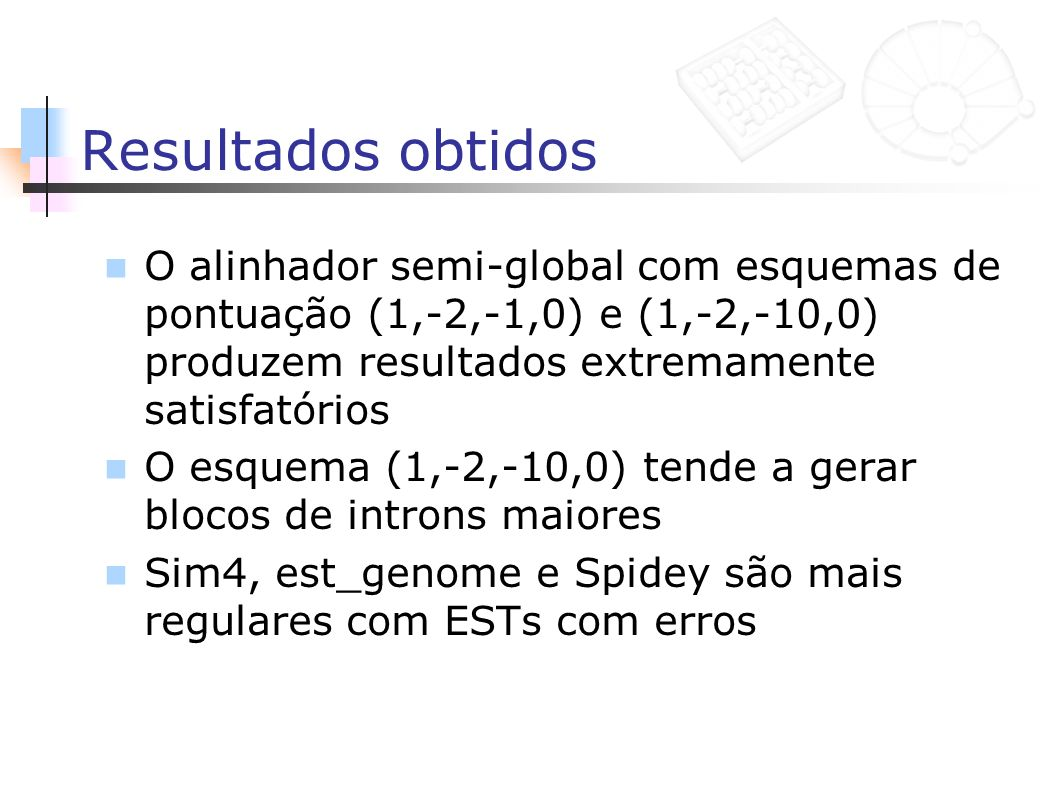 Resultados obtidos O alinhador semi-global com esquemas de pontuação (1,-2,-1,0) e (1,-2,-10,0) produzem resultados extremamente satisfatórios.