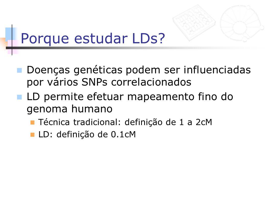 Porque estudar LDs Doenças genéticas podem ser influenciadas por vários SNPs correlacionados. LD permite efetuar mapeamento fino do genoma humano.