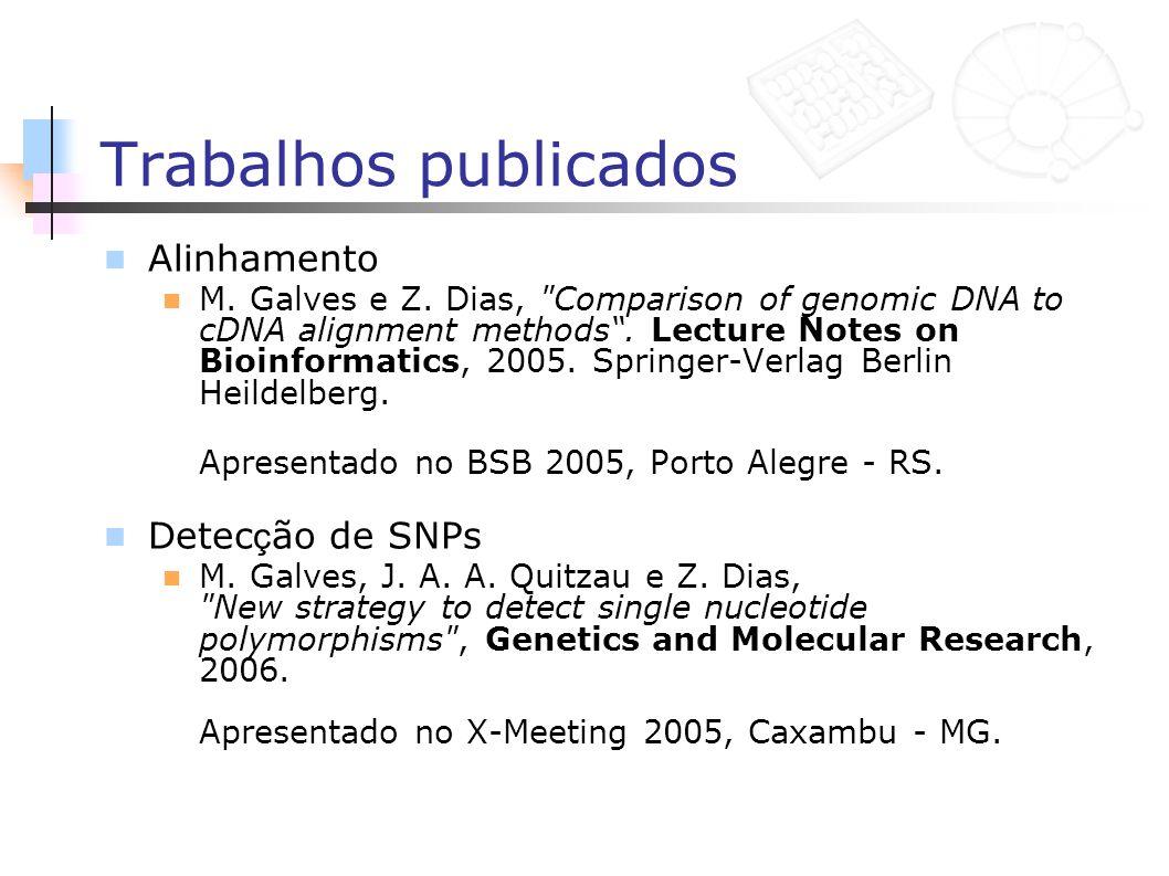 Trabalhos publicados Alinhamento Detecção de SNPs