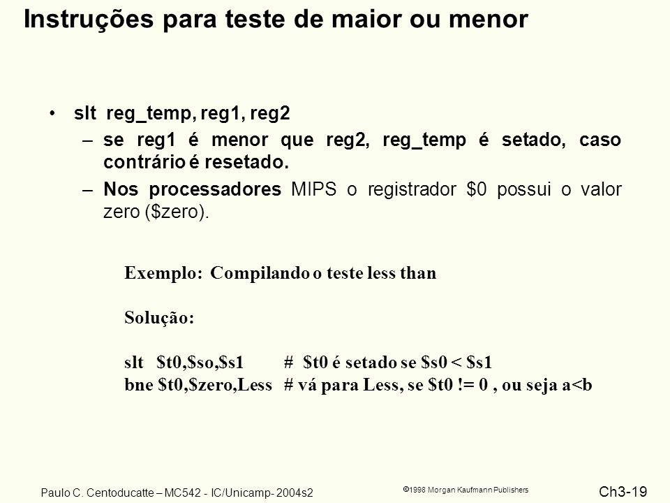 Instruções para teste de maior ou menor