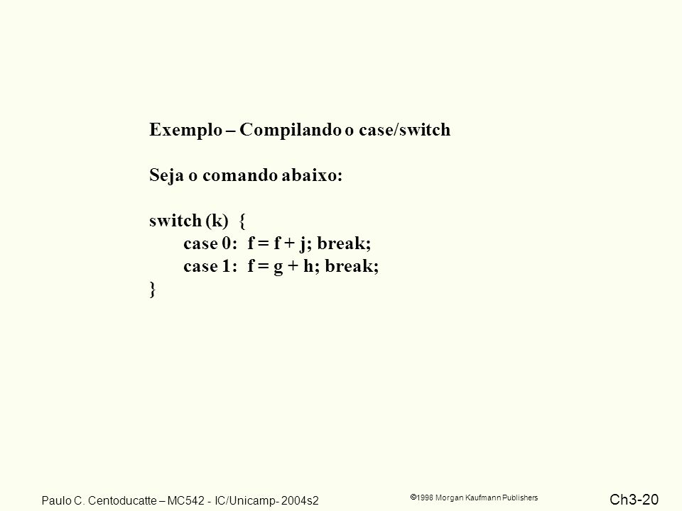 Exemplo – Compilando o case/switch