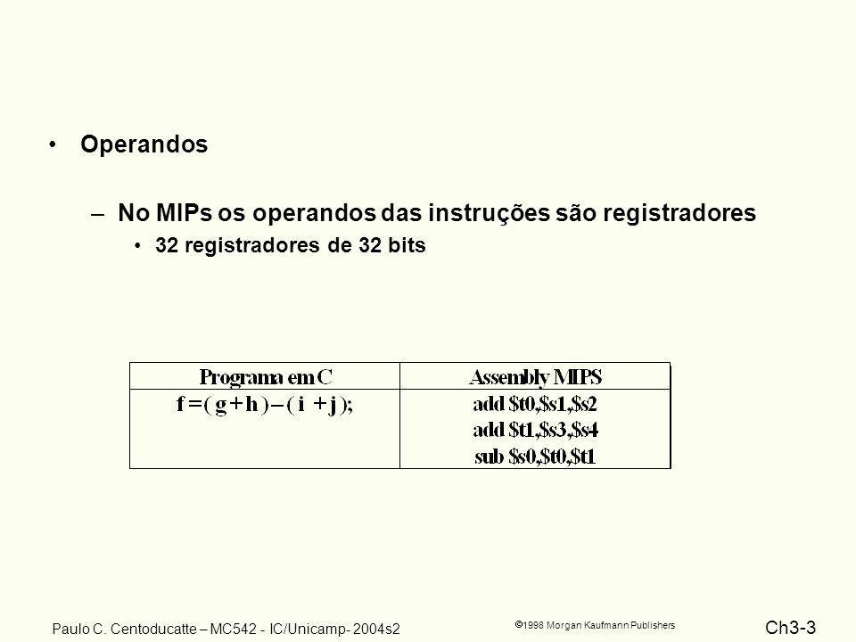 No MIPs os operandos das instruções são registradores