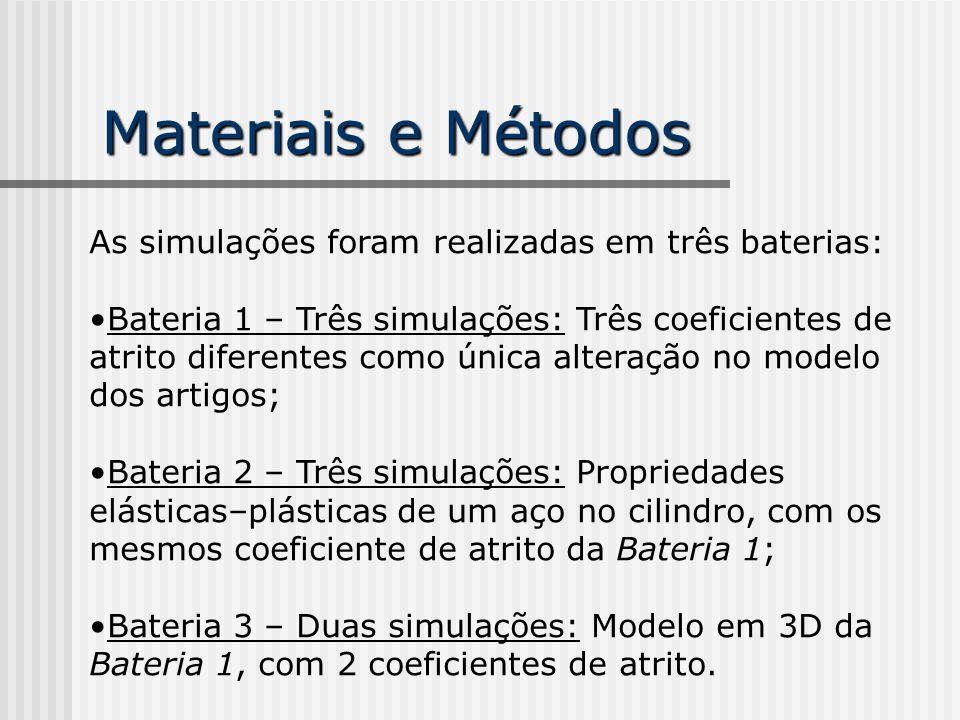 Materiais e Métodos As simulações foram realizadas em três baterias: