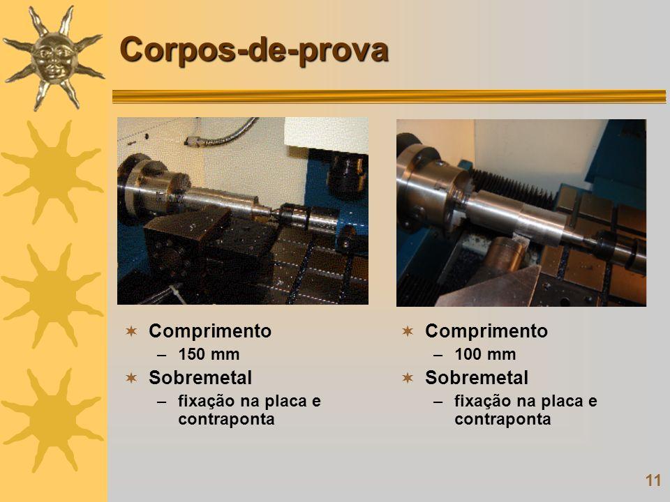 Corpos-de-prova Comprimento Sobremetal Comprimento Sobremetal 150 mm