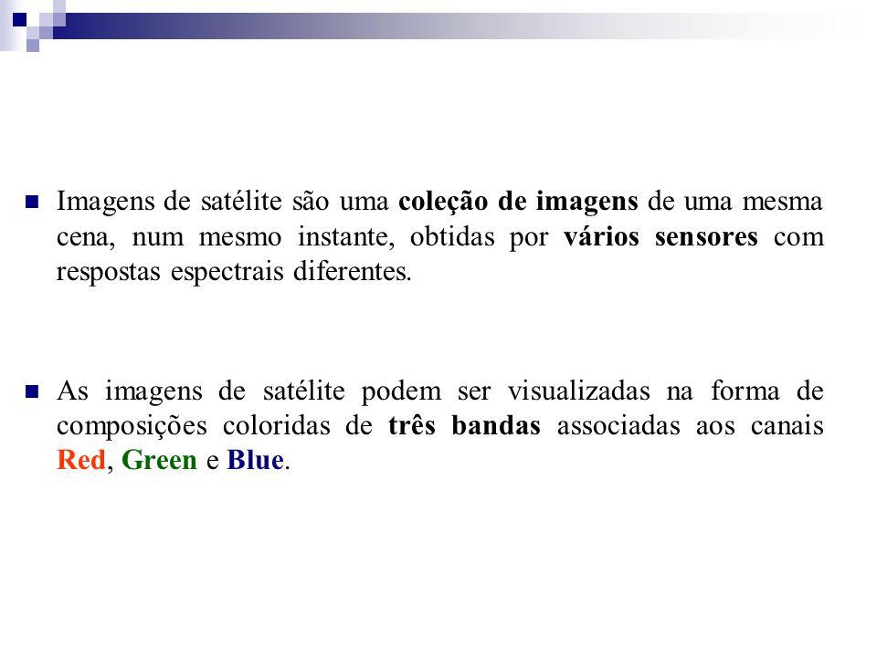 Imagens de satélite são uma coleção de imagens de uma mesma cena, num mesmo instante, obtidas por vários sensores com respostas espectrais diferentes.
